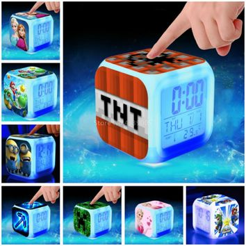 New Digital Alarm Clock Kids Toys Super Mario Minions Cartoon Minecraft Colorful Glowing Elsa Anna LED clock wake up light