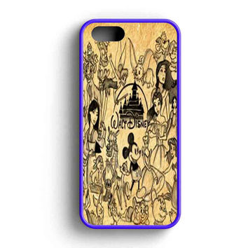 Disney Classic Pencil Drawing All Characters  iPhone 5 Case iPhone 5s Case iPhone 5c Case