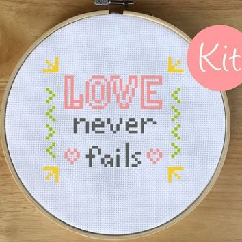 Beginner Quote Cross Stitch Kit - Love Never Fails
