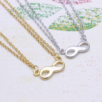 Infinity Double  chain  necklace in  silver or gold tone