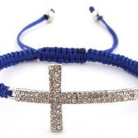 Blue Lace Style Iced Out Cross Bracelet with Beaded Disco Balls Macrame Shamballah: Jewelry: Amazon.com