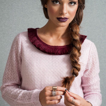 Wool crop top, top with tasells, long sleeve crop top, magenta tasells loose top, tassel collar top, soft wool crop top
