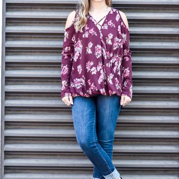 Crossing Over Floral Print Top