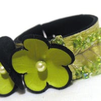 Leather green narrow bracelet Leather flowers cuff by julishland