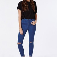 Missguided - Edie High Waisted Ripped Knee Skinny Jeans Intense Blue