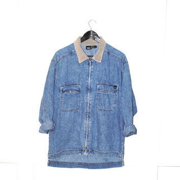 90s grunge long DENIM jacket early 1990s MOSSIMO stone wash jean jacket corduroy collar denim coat