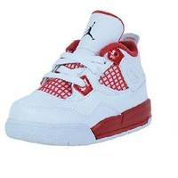 AIR JORDAN 4 RETRO INFANTS SHOES WHITE BLACK GYM RED