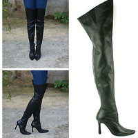 Ladies Womens New Real Leather High Heel Zip Up Over The Knee Boots Shoes Size