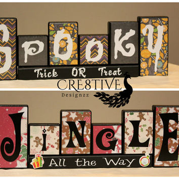 Reversible Halloween/Christmas Spooky/Jingle Wood Blocks Decor