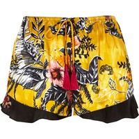 Yellow floral pyjama shorts