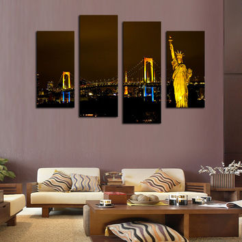 Unframed 4 Piece Modern City Scenery Home Wall Decor Canvas Picture Art HD Print Painting On Canvas For Home Decor