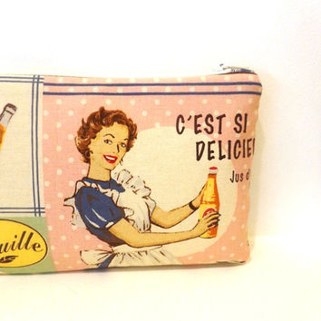 Pencil Case Medium Zipper Pouch  Cosmetic Pouch Retro Vintage Sweets