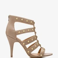 FOREVER 21 Studded Gladiator Sandals Taupe 6