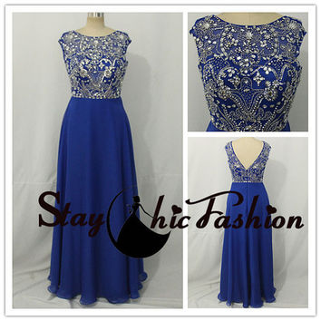 Royal Long Rhinestone Beaded Top Cap Sleeves Chiffon Evening Dress,2015 Royal Beaded Prom Dresss