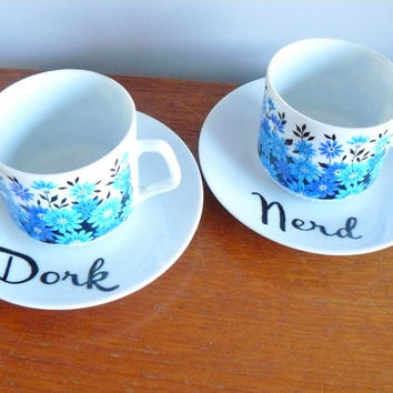 Nerd Dork hand painted vintage cup and saucer set of two