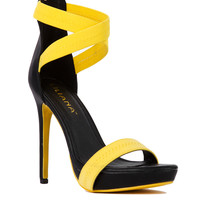 Cross Ankle Strap Yellow Stilettos