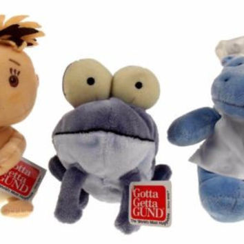 Lot 3 Gotta Get Gund Purple Frog Blue Hippo Chef Caveman Baby Plush Toy Bean Bag