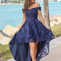 Navy Off Shoulder Printed High Low Dress