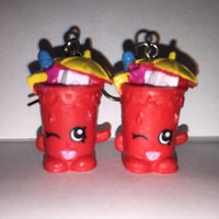 Shopkins Foodie Earrings - Little Sipper - repurposed toys