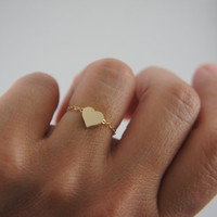 Make a wish good luck chain ring, silver, gold, tiny heart, promise, love, friendship
