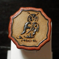 Pink Ivory Wooden Ring - Gold Plated 925 Silver - Owl Relief