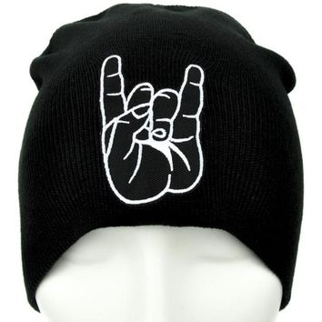 ac spbest Horns Up Metal Sign Beanie Devil Occult Clothing Knit Cap
