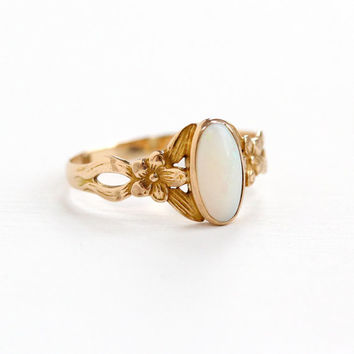 Antique 10k Rosy Yellow Gold Opal Ring - Size 8 1/4 Vintage Art Nouveau Early 1900s White Gemstone Cabochon Flower Motif Fine Jewelry