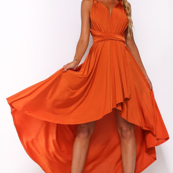 Orange Halterneck Maxi Dress