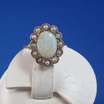 Luminous Opal and Pearl Victorian Antique Ring
