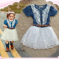 Girls Denim Princess Dress Short Sleeve Casual
