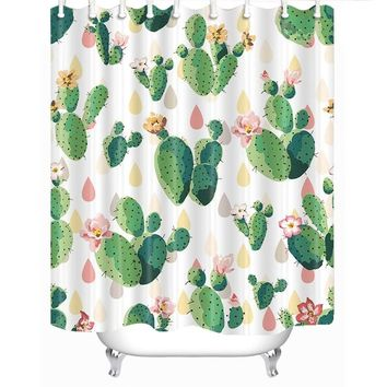 Cacti and Raindrops Fabric Shower Curtain in Pastel and Green