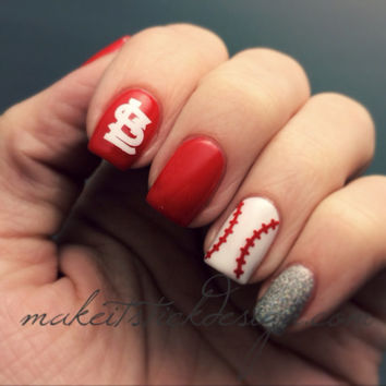 Baseball Laces Vinyl Nail Decals / Stickers Sheet of 40 Laces- YOU PICK COLOR