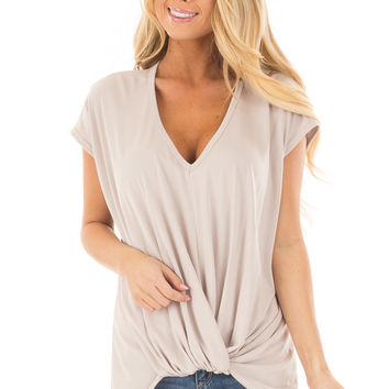 Taupe Short Sleeve Hi Low Top with Twist Front Detail