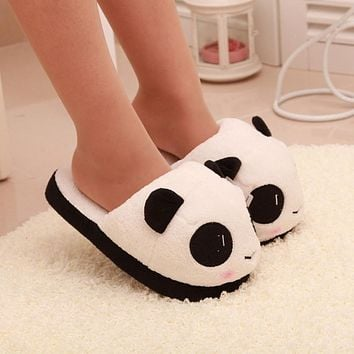 High Quality Vintage Designer Women Ladies Soft Cute Panda Winter Warm Plush Antiskid Shoes Indoor Home Slipper Free Shipping