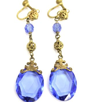 "Antique Edwardian Cobalt Blue Glass Long  Drop Earrings Brass Screw Back 2 1/2"" Titanic"