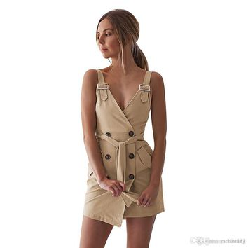 Women Deep V Wrap Ruched Sleeveless Nightclub Mini Dress With Pocket white elegant Slim soft touch urban style new arrival