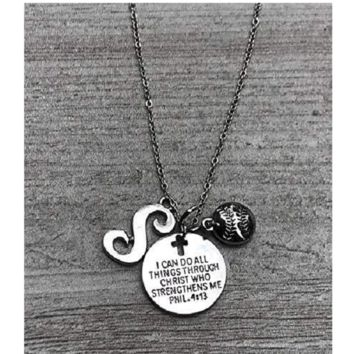 Personalized Softball Christian Necklace, I Can Do All Things Through Christ Who Strengthens Me