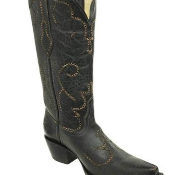 LMFYW3 Corral Black Laser & Tumbling Snip Toe Boots G1312