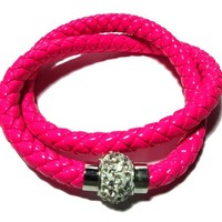 Hot pink Leather double braided bracelet