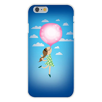 Apple iPhone 6 Custom Case White Plastic Snap On - 'Bubble Gum Girl' Funny Floating Away