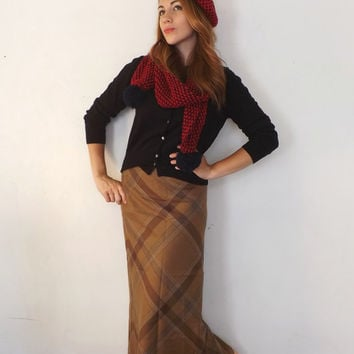 Vintage Size 6 Retro Ralph Lauren Pencil Maxi Skirt Long Classic Tan Plaid Wool Flannel Skirt Office 1940s 50s Style Winter skirt Mad Men