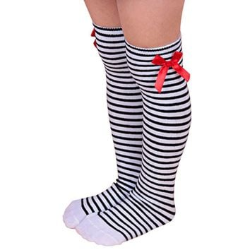 KLV 1Pairs Cotton Kid Sweet Princess Bowknot Striped Boot stockings Winter Knee High Warm stockings knee meias compridas long
