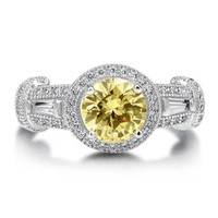 Canary Cubic Zirconia Sterling CZ Silver Halo Solitaire Ring 1.28 ct #r555