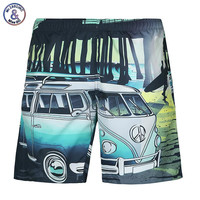 men summer 3d digital print car seaside casual lovely