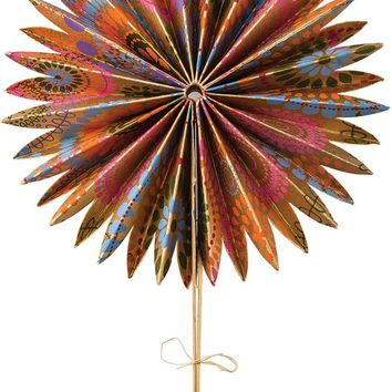 "Metallic Gold Goa 10"" Paper Fan"