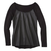Mossimo® Women's Faux Leather Front Tee - Black