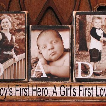 Dad Sign, Fathers Day Gift,  Dad Photo Gift Blocks, Customized Dad Sign Word Blocks with Pictures, Father's Day Gift, Birthday Gift for Dad