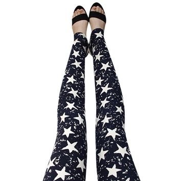 2017 KLV New Fashion Womens Sexy Skinny Print Leggings Stretch Jeggings Pants Hot Sale