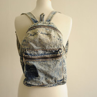 Vintage Acid Wash Denim Backpack