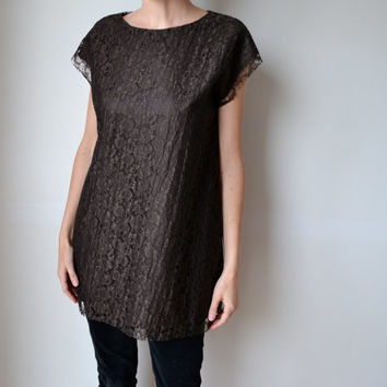 Chocolate brown lace tunic top / dress. Cap sleeves. Made to order.